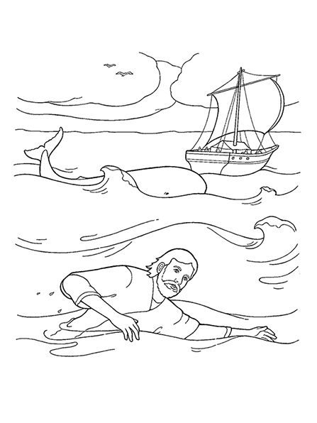 A black-and-white illustration of Jonah swimming in waves, with a ...