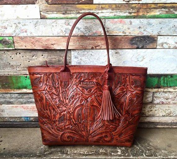 Hand Tooled Tote Carved Leather Bag Brown Suede Mexican Purse
