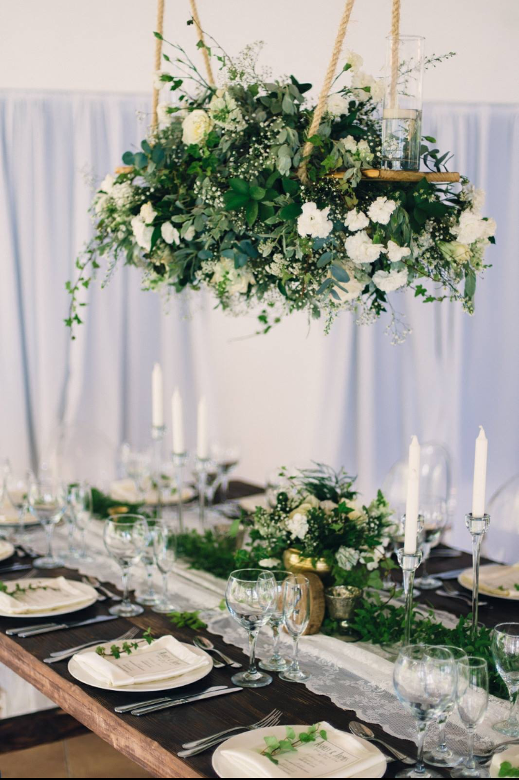 Rustic Modern Posh Wedding Guest Table Decor Natural Greenery