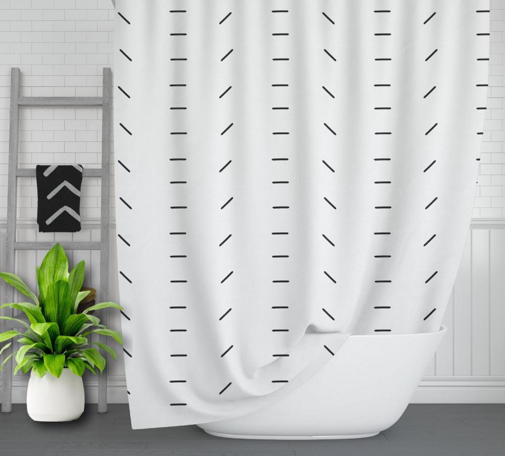boho shower curtain mudcloth pattern