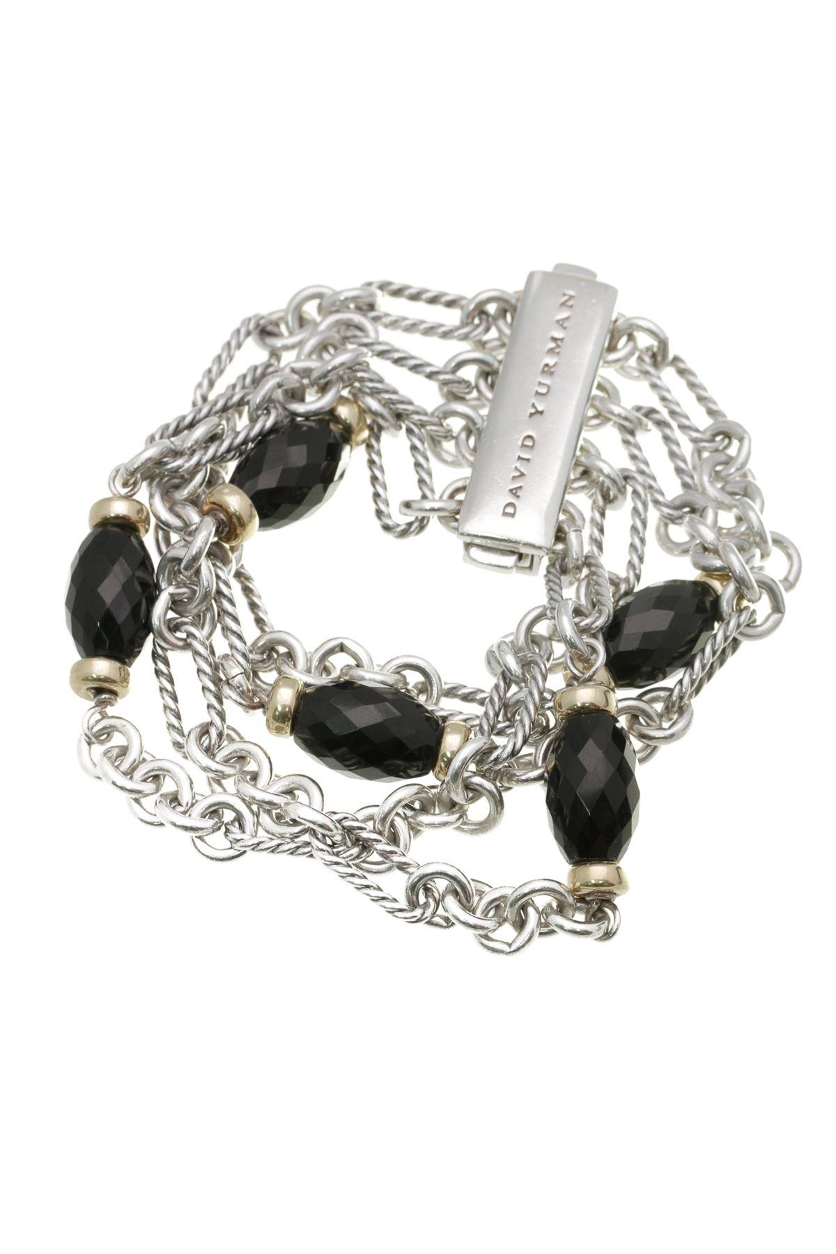 david yurman sterling silver u0026 18k gold black onyx figaro bracelet
