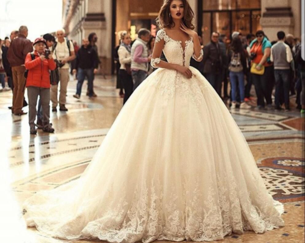 2019 Sheer Long Sleeves Lace Appliques Wedding Dress Princess Beautiful Bridal Gowns Half Sleeves Vestidos D Wedding Dresses Bridal Gowns Puffy Wedding Dresses [ 793 x 993 Pixel ]