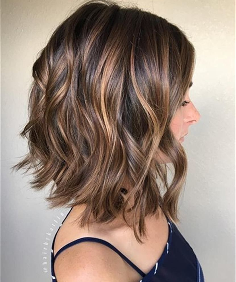 Shoulder length wavy hairstyle human hair bob wigs for women
