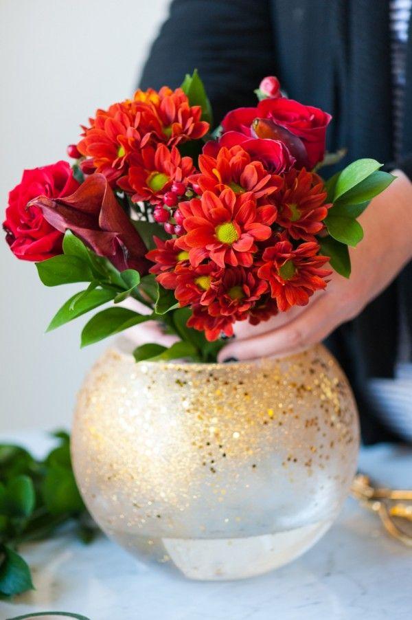 Diy Gold Confetti Glitter Vase Diy Pinterest Diy Christmas