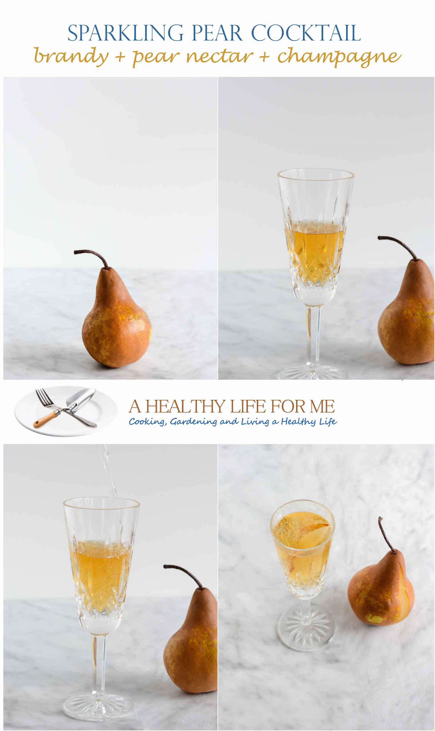 Sparkling Pear Cocktail is a bit of sweet and bubbly that is all about happy celebration. - A Healthy Life For Me