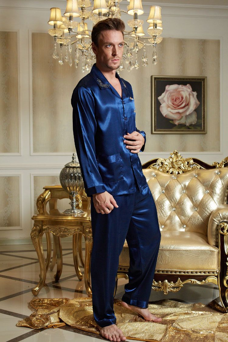Silk Blend Men Sleepwear Long Sleeve Sleep Shirts Tops Pants Pajama Sets  Gifts 76064568b