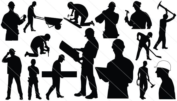 Construction Workers Silhouette Vector   Silhouette Cameo