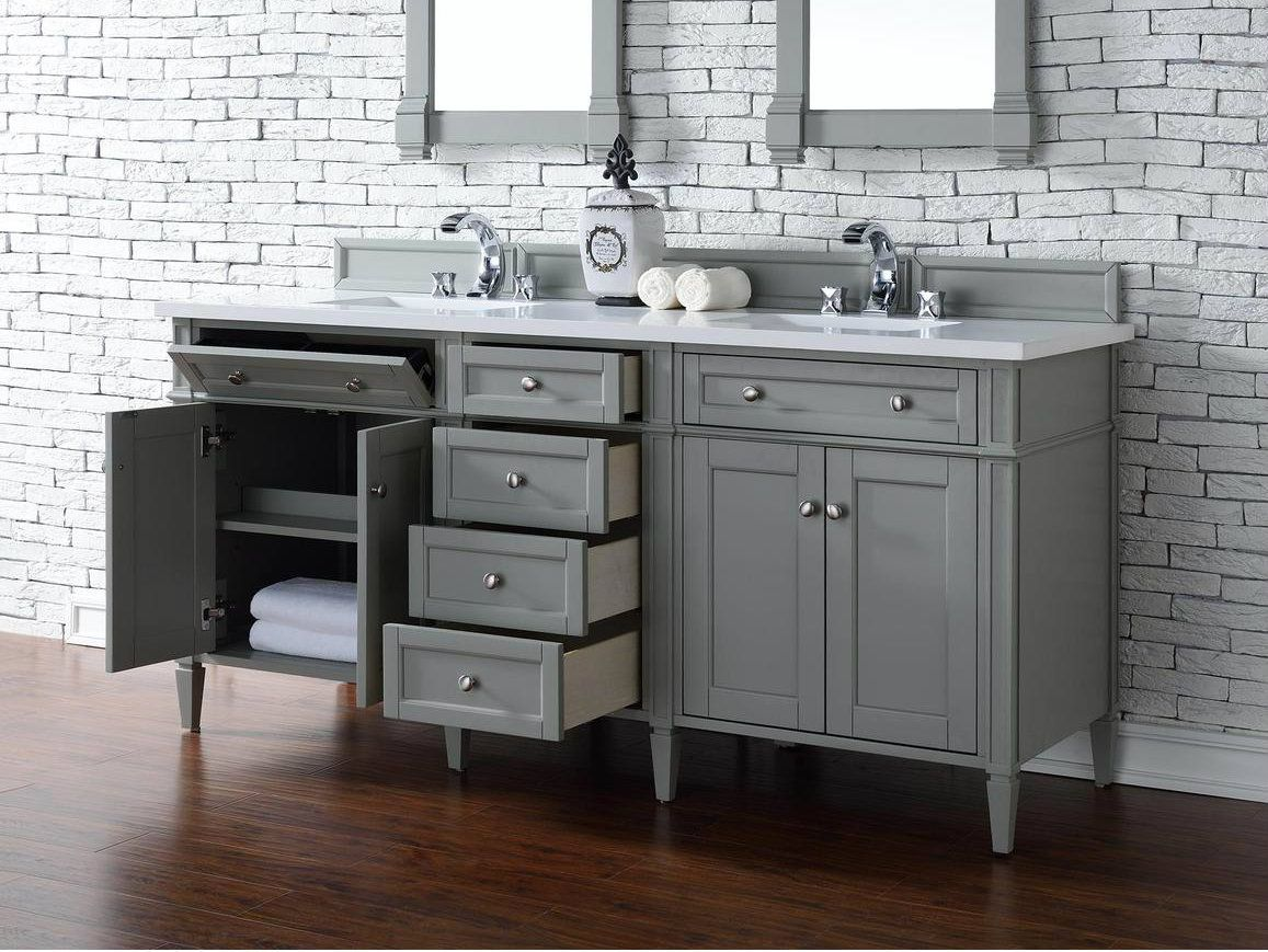 James Martin Brittany Collection 72 Grey Bathroom Vanity Double