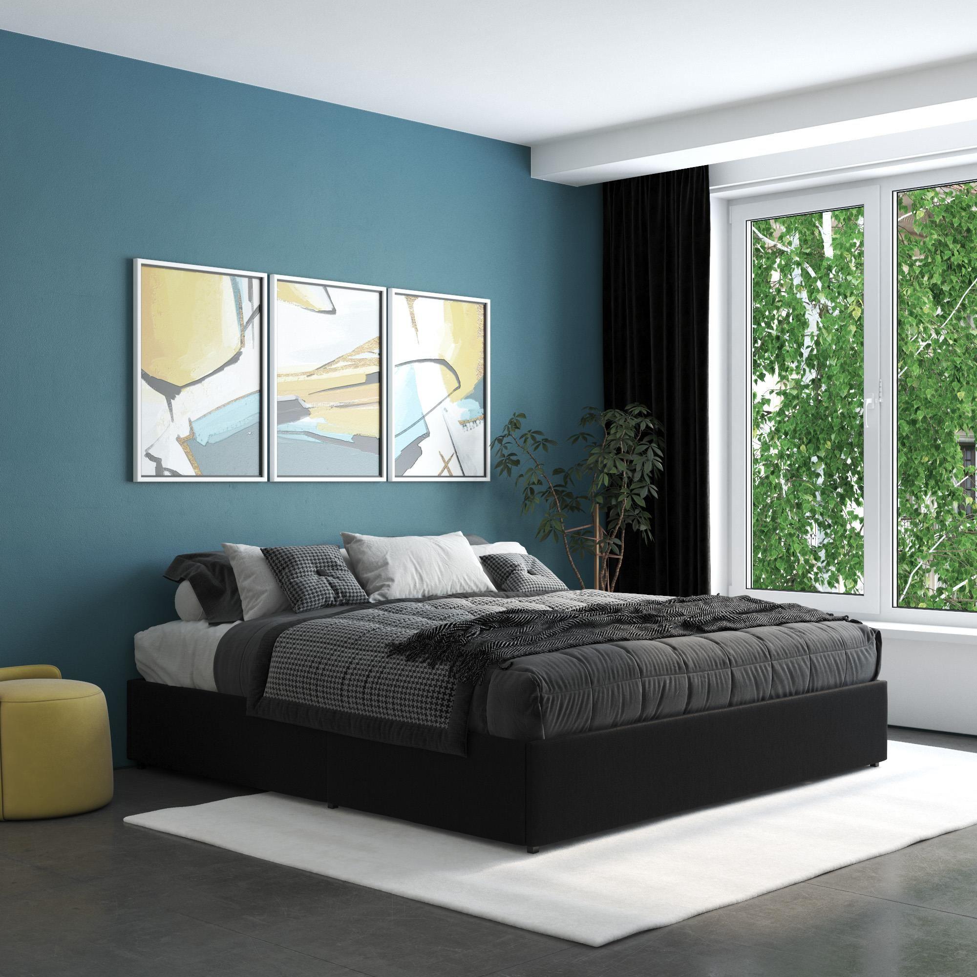 Home in 2020 Platform bed with storage, Black bedding