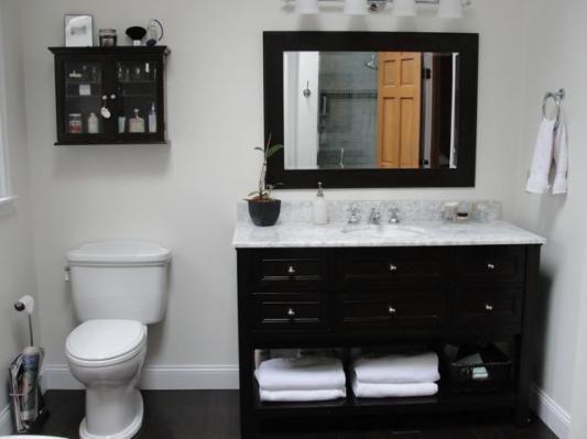 Like The Black Espresso Vanity W White Marble Countertop