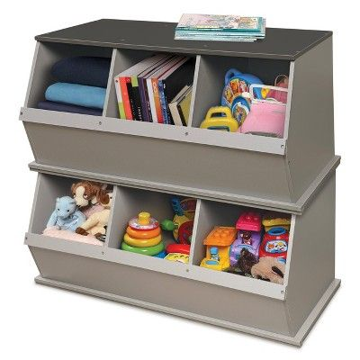 Three Bin Stackable Storage Cubby Gray Badger Basket In 2020 Cubby Storage Toy Storage Bench Cubbies