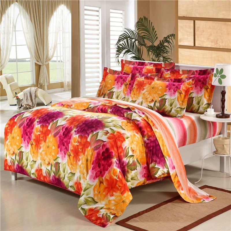 Orange Yellow and Purple Bright Colorful Asian Oriental Blossom 100% Brushed Cotton Full, Queen Size Bedding for Winter