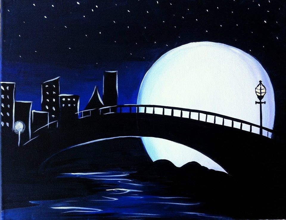 Pin By Tina Schimmoller Kowalski On Diy Silhouette Painting Moonlight Painting Easy Landscape Paintings