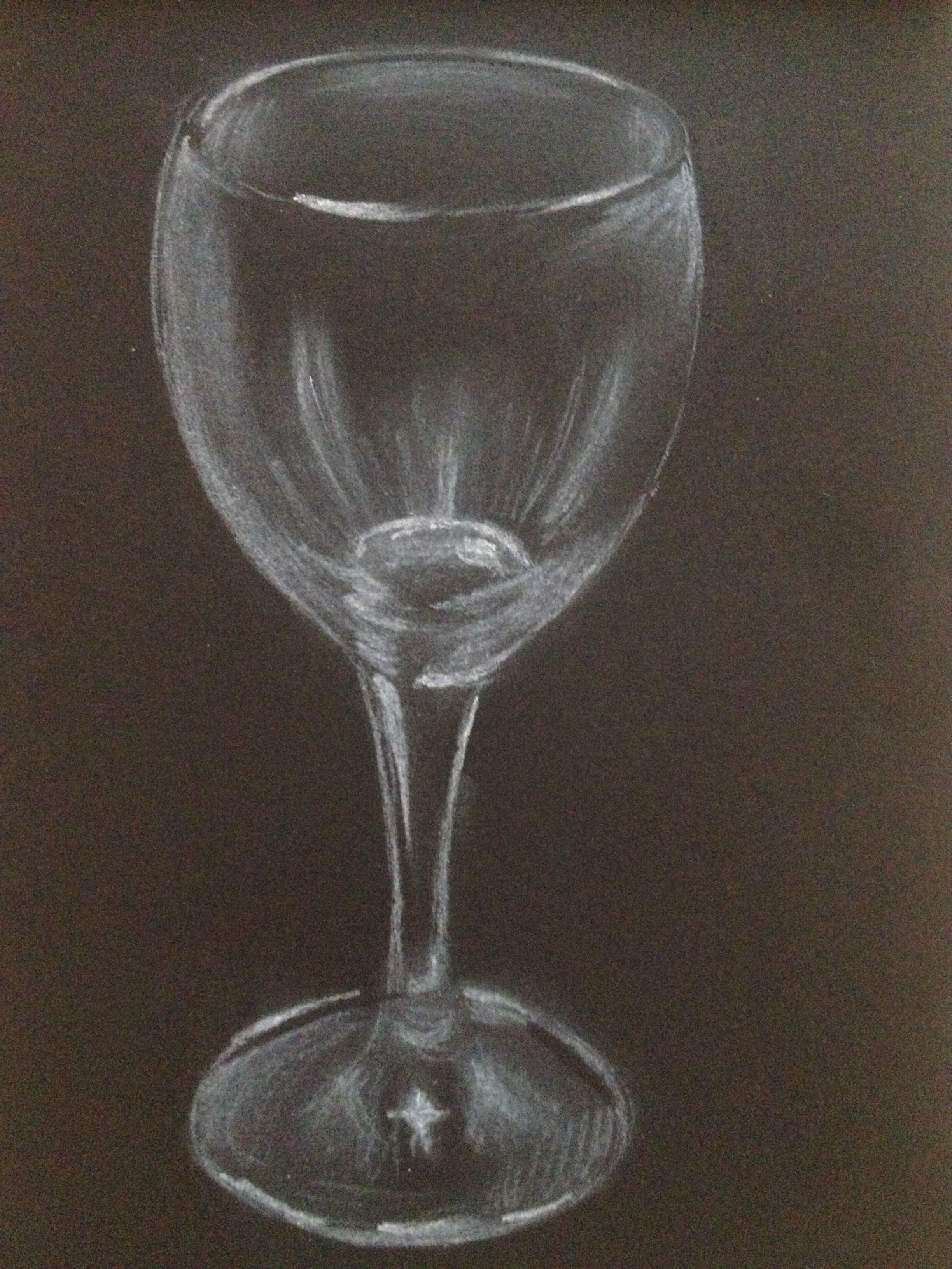 Wine glass still life sketch. White charcoal on black paper. SOLD