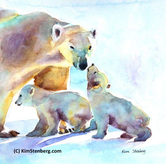 "Polar Bear Painting Original Watercolor Animal Art ""Mother's Love"" by KimStenbergFineArt $165"