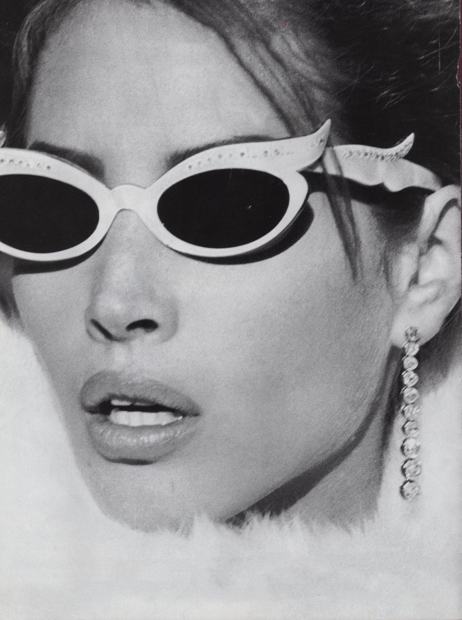 5d56c82ae517 US Vogue. Model Christy Turlington cateye sunglasses. Photo by Steven  Meisel (B1954)