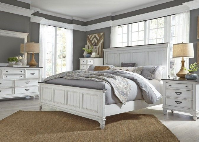 Allyson Park Wire Brushed White Panel Bedroom Set In 2021 White Bedroom Set White Panel Bedroom Set White Panel Bedroom