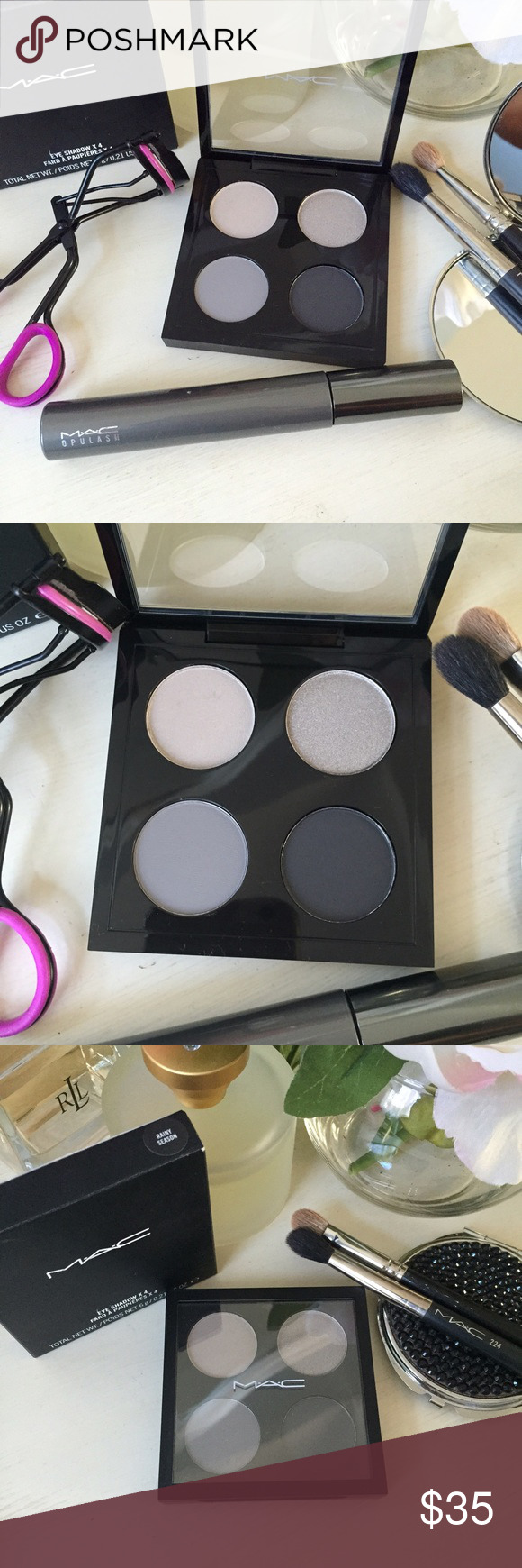 🆕 MAC eyeshadow eye palette The perfect palette for a gorgeous smoky eye! Never used & New in box MAC rainy season eyeshadow palette. Colors: rainy season, arctic grey, courtly grey, typographic. MAC Cosmetics Makeup Eyeshadow