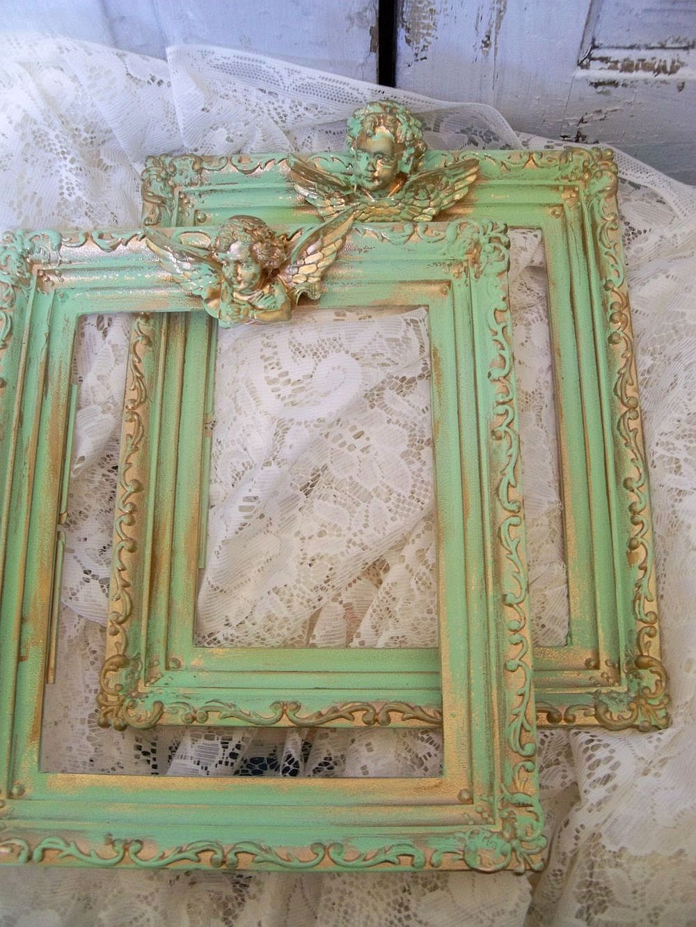 Shabby Chic Wall Decor Vintage Green Ornate Frames Adorned With Cherubs Shabby Chic Wall