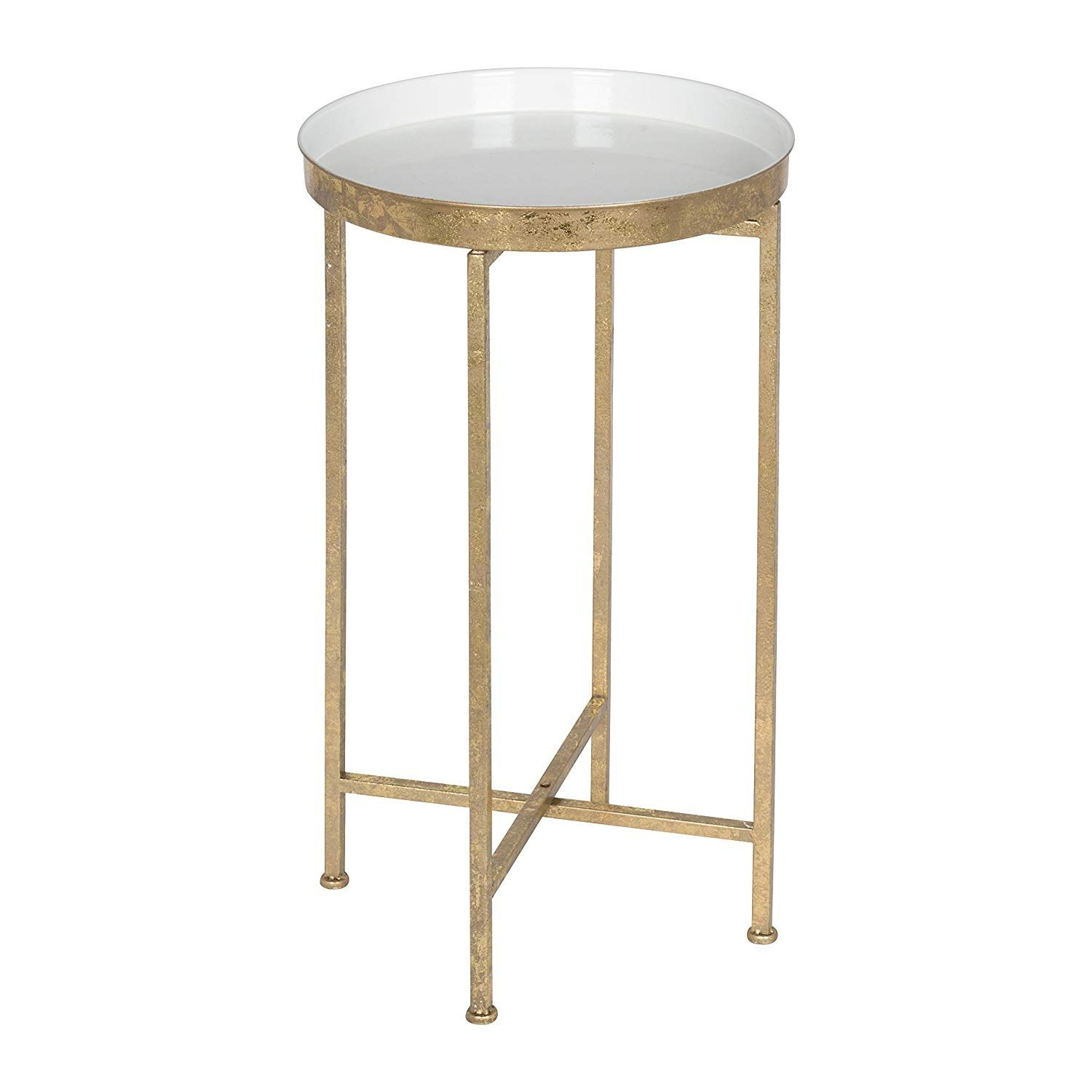 Amazon Com Kate And Laurel 212374 Celia Round Metal Foldable Tray Accent Table Pink And Gold Home Kitchen 60 Va Metal End Tables End Tables Accent Table