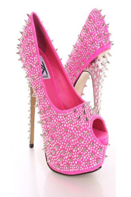 Hot Pink Heels With Rhinestones