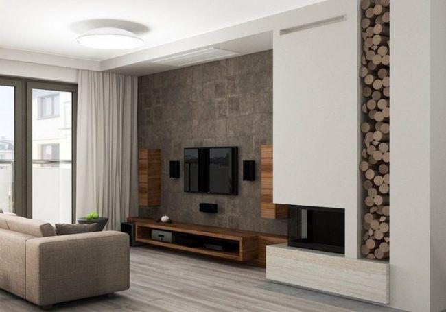 fernseher-wand-montieren-wohnzimmer-holz-sideboard-lautsprecher, Mobel ideea