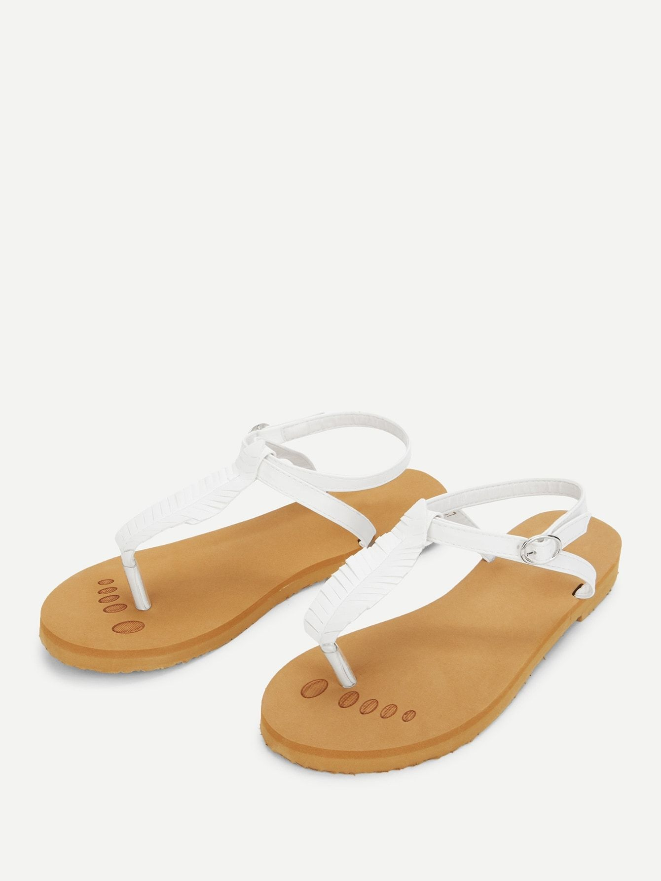 a63f48f01 Casual Strappy White Toe Post Strappy Flat Sandals | Shoe | Strappy ...