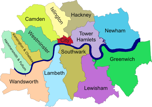 Map Of London Showing Boroughs.These Are The Twelve Inner Boroughs Of London The City Of