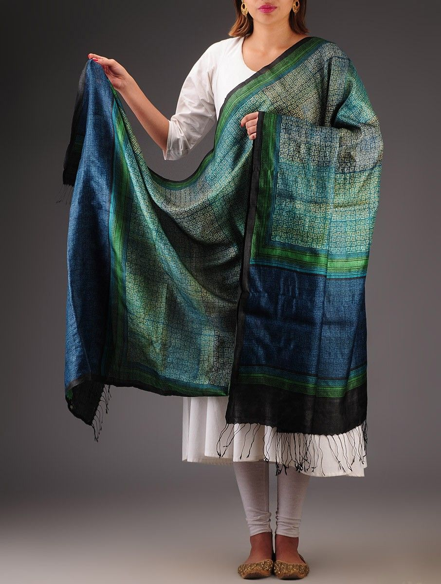 buy blue green black tussar silk hand block printed dupatta accessories dupattas poetic prints online at