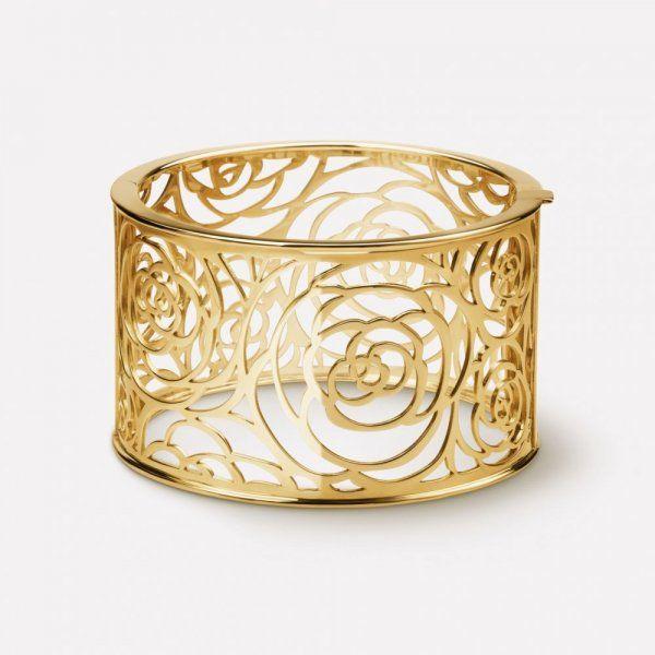اسوارة ذهب أنيقة من مجوهرات كاميليا من شانيل Idees De Bijoux Perle Tahiti Bijoux Fins