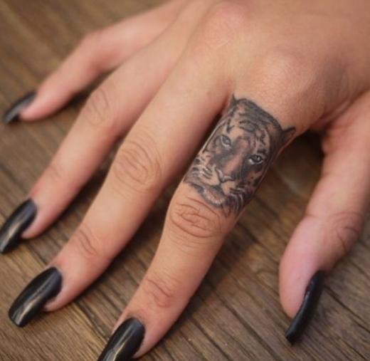 Tiger's Head Finger Tattoo
