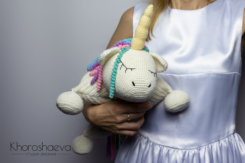 Crochet Pattern Pillow Unicorn Toy Crochet Decor Pillow