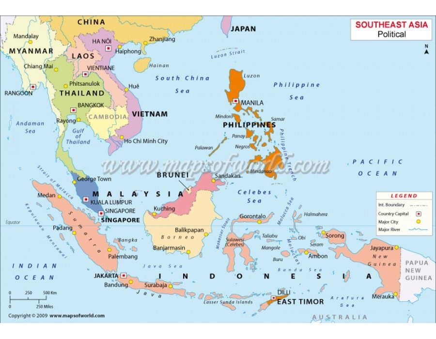 Buy South East Asia Political Vector Map Asia Singapore map and Country maps