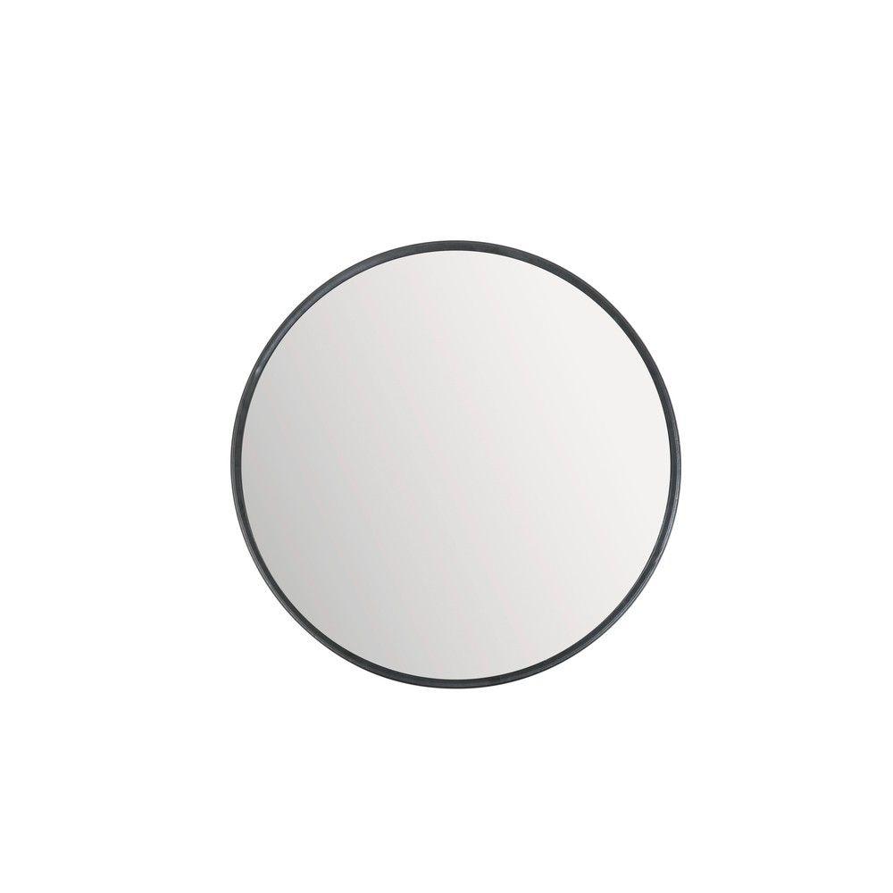 Runder Spiegel aus getöntem Glas mit schwarzem Metallrahmen, D90 ...