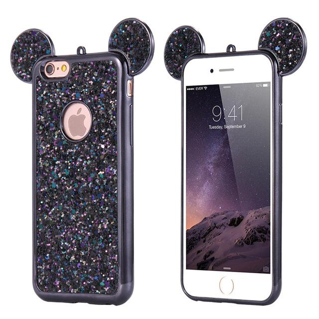 3D Mouse Glitter Cover For iPhone 6 6S Plus iPhone 7 8 Plus X Phone Case  Cute Coque Capa For iPhone SE 5S S Cases Compatible iPhone Model  iPhone 6  Plus ... b2d629734
