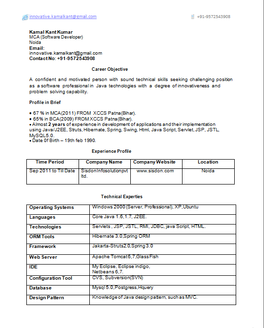 2 Years Resume Format Resume Format Resume Format Job Resume Samples Sample Resume Format