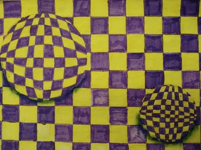 Good idea for Op Art. Could also be a lesson on complementary colors!