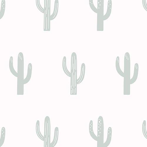 Saguaro Cactus Green and Cream Repeat Pattern Wallpaper