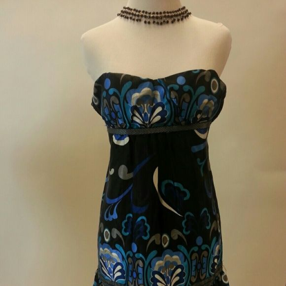 Strapless Paisley Satin like Dress Love the color and style. Awesome condition. Strapless top back which makes it adjustable and comfortable. Dresses