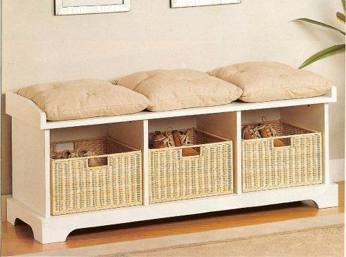 Coaster Storage Bench with Baskets and Cushions, White Not a fan of