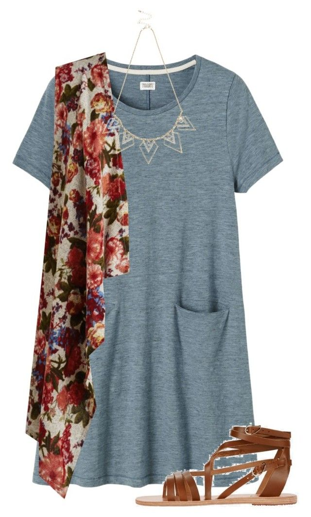 """""""T-shirt Dress 2"""" by guest114 ❤ liked on Polyvore featuring Toast, Ancient Greek Sandals and Oasis"""