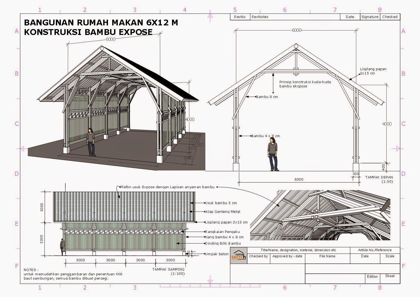 Rumahsketch Com Konsultasi Bangunan Rumah Makan Konstruksi Bambu X M