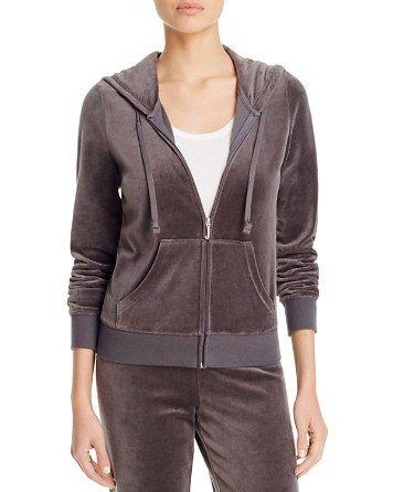 Juicy Couture Black Label Robertson Velour Zip Hoodie in Top Hat Grey - 100% Bloomingdale's Exclusive