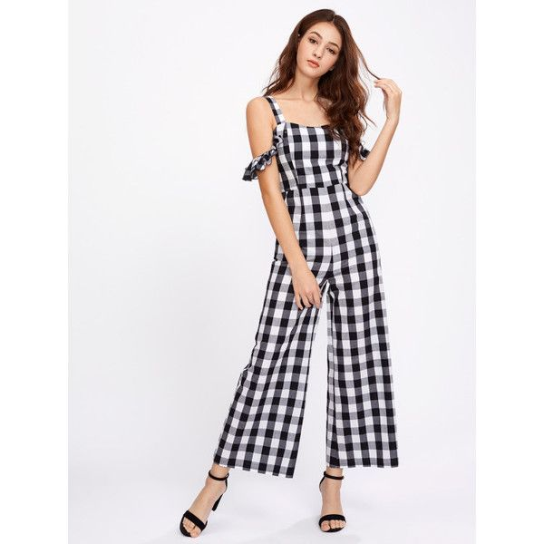 ac7ccb0119 Thick Strap Ruffle Sleeve Checkered Culotte Jumpsuit ( 31) ❤ liked on Polyvore  featuring jumpsuits