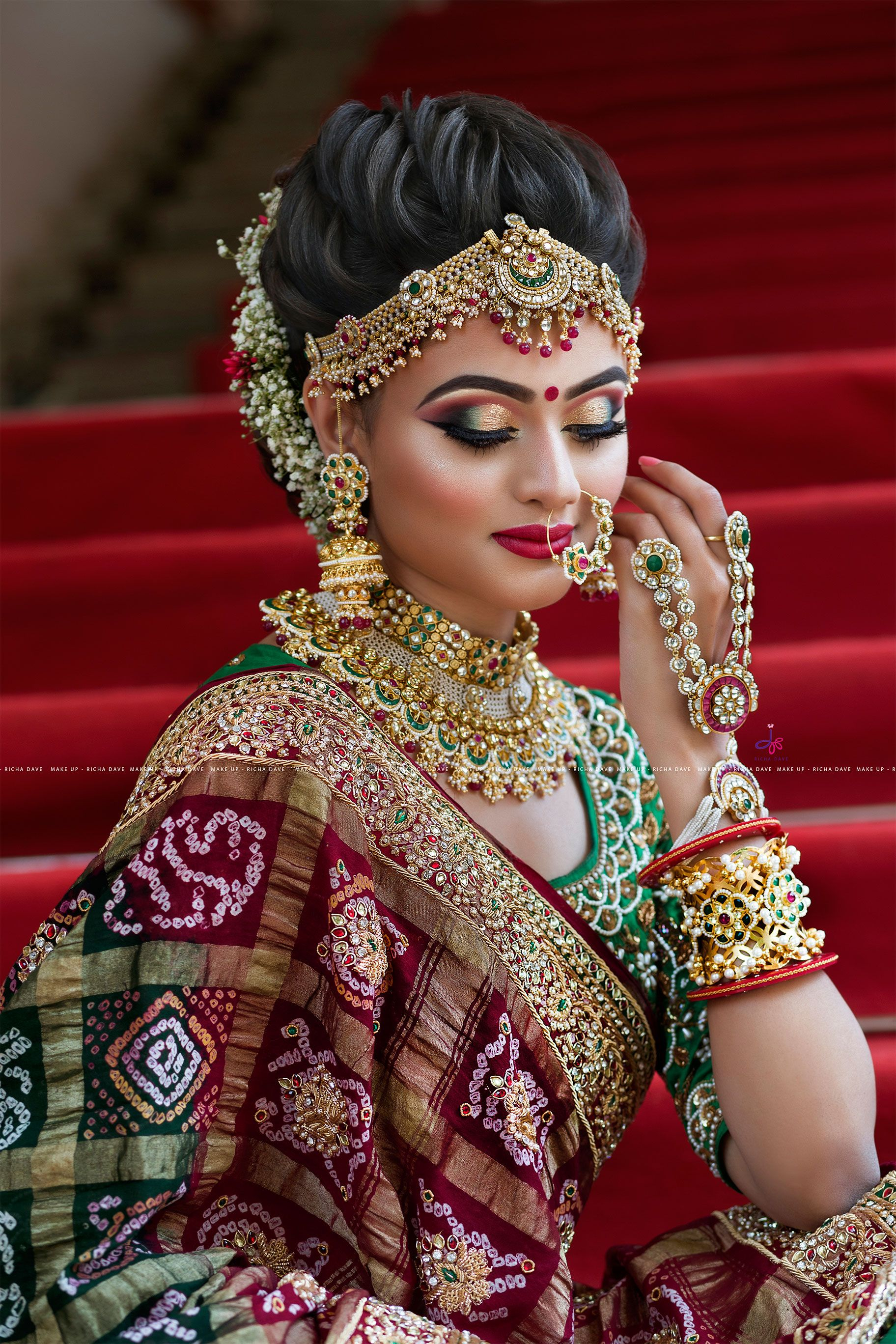 830297d0ec Gujarati Bridal Look | Indian bridal jewelry in 2019 | Indian bridal ...