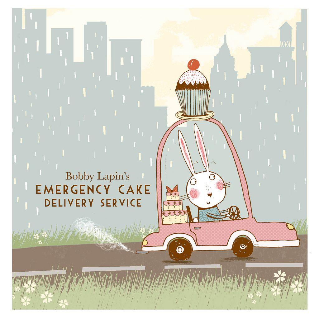 Emergency cake whimsical art cute illustration