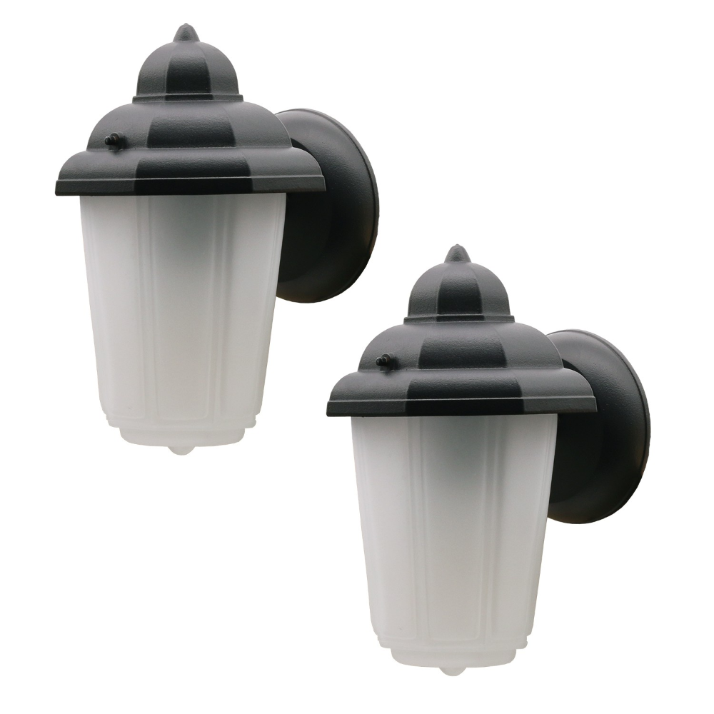 Ever 2 Pack One Light Exterior Outdoor Lantern Wall Mount Frosted Glass Black In 2020 Diy Outdoor Lighting Outdoor Lighting Design Outdoor Light Fixtures