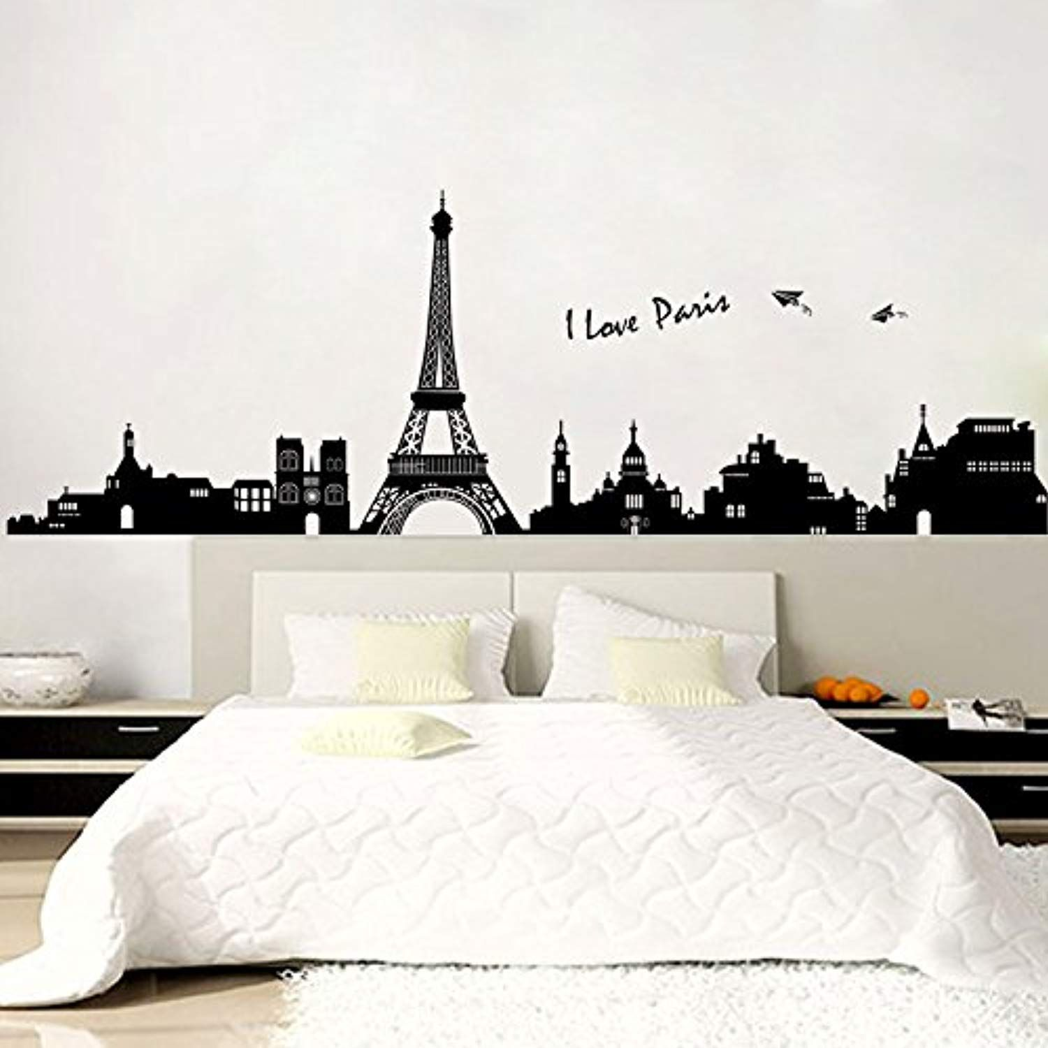 Paris wall decals eiffel tower wall decor black and white wall