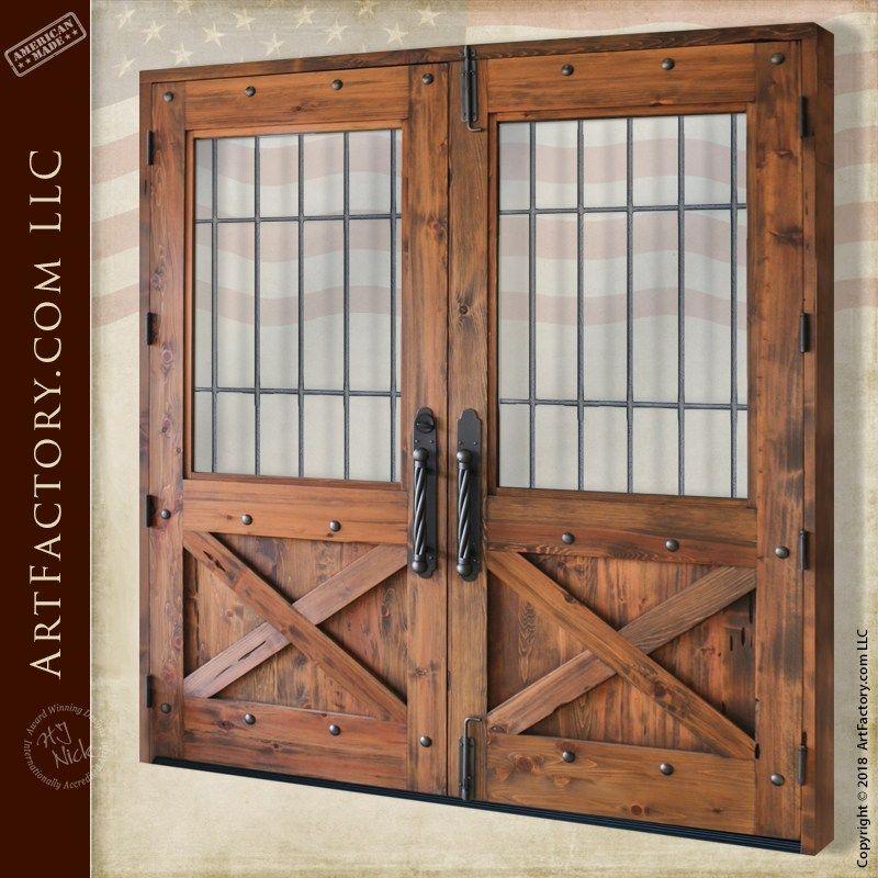 Custom Crossbuck Double Doors Solid Wood Hand Forged Iron Grills Hand Crafted Doors Custom Entrance Doors Double Doors