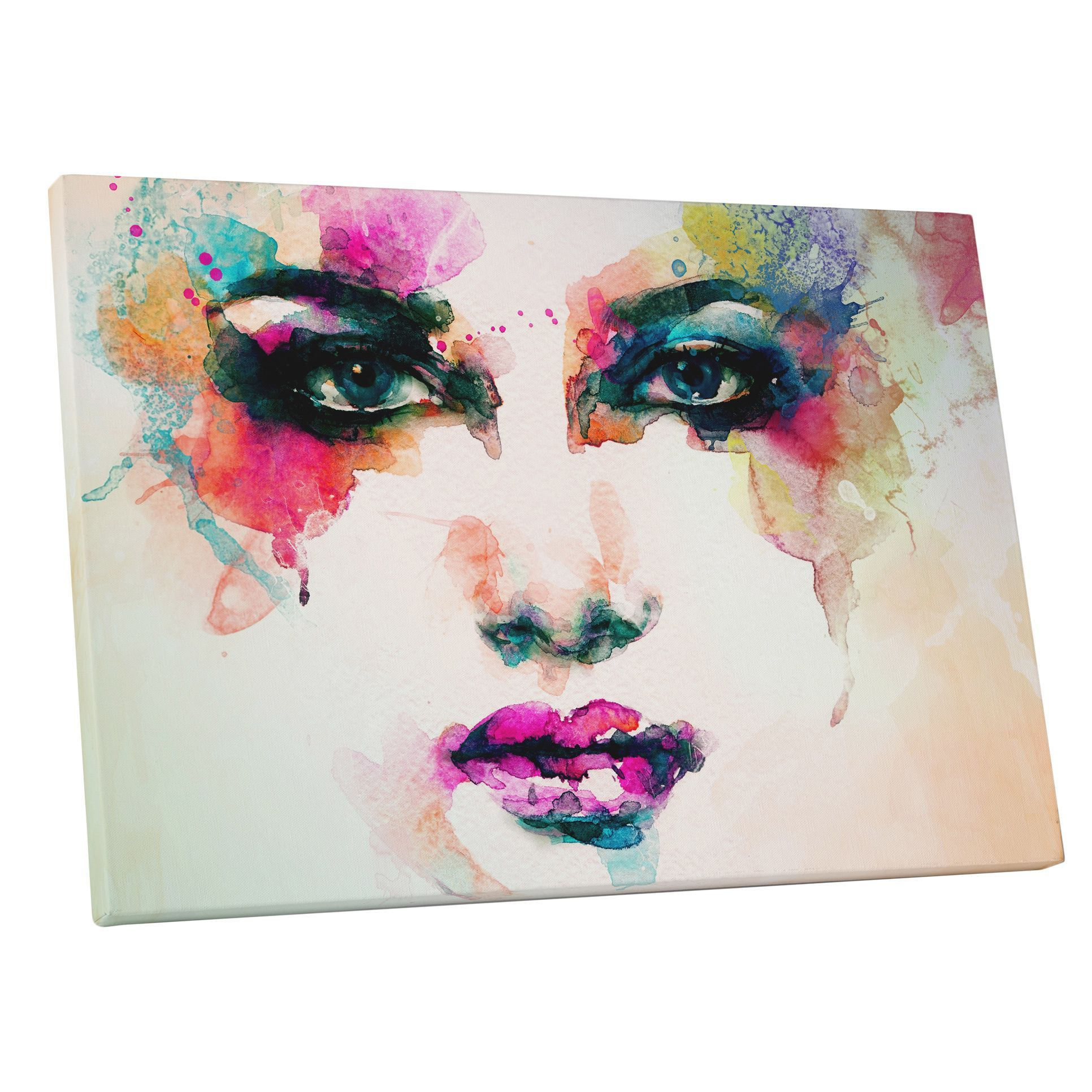 Pop Art Running Water Color Make Up Gallery Wrapped Canvas Wall
